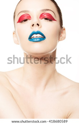 High fashion look.glamor closeup beauty portrait of beautiful sensual Caucasian young woman model with 