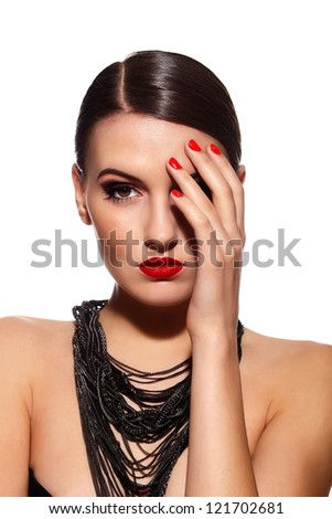 High fashion look.glamor closeup portrait of beautiful sexy Caucasian young woman model with red lips,bright makeup, with black eyes with perfect clean skin isolated white - stock photo