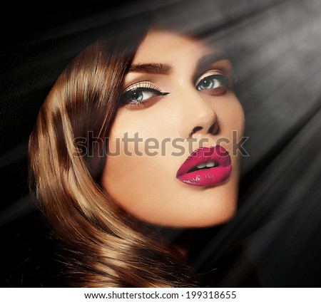 High fashion look.glamor closeup portrait of beautiful sexy stylish Caucasian young woman model with bright makeup, with pink natural lips, with perfect clean skin - stock photo