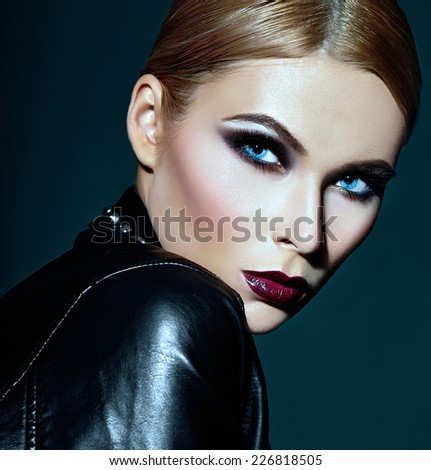 High fashion look.glamor closeup portrait of beautiful sexy stylish Caucasian young woman model with bright modern makeup, with dark red lips,  with perfect clean skin - stock photo
