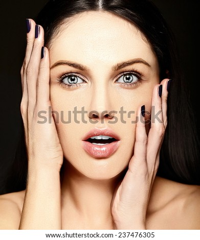 High fashion look.glamor closeup surprised smiling beauty portrait of beautiful   Caucasian young woman model with no makeup  with perfect clean skin - stock photo