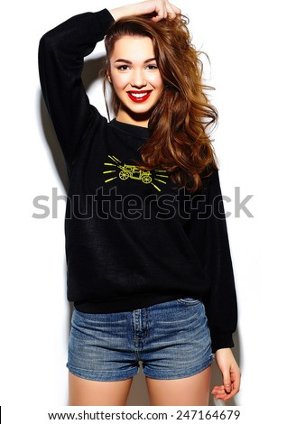 High fashion look.glamor stylish beautiful  young happy smiling woman model with red lips  in blue black hipster cloth  - stock photo