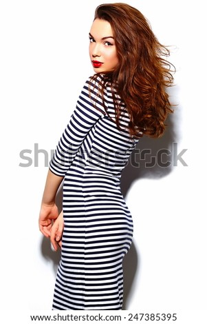 High fashion look.glamor stylish beautiful  young happy smiling woman model with red lips  in zebra dress - stock photo