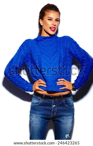 High fashion look.glamor stylish beautiful  young woman model with red lips  in blue sweater hipster cloth  - stock photo