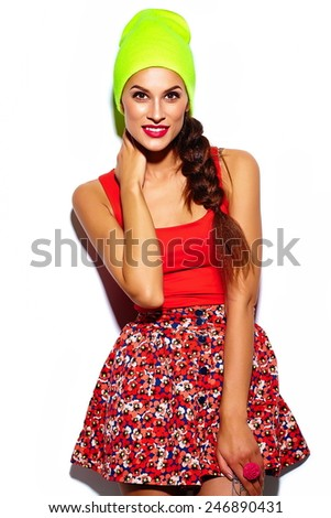 High fashion look.glamor stylish beautiful  young woman model with red lips  in summer bright colorful  hipster cloth in yellow beanie - stock photo