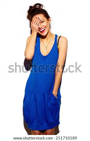 High fashion look.glamor stylish beautiful  young woman model with red lips  in summer bright colorful  hipster blue dress cloth - stock photo