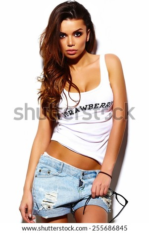 High fashion look.glamor stylish sexy beautiful  young brunette woman model  in summer bright  hipster cloth  - stock photo