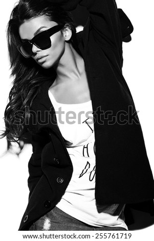 High fashion look.glamor stylish sexy beautiful  young brunette woman model  in summer bright  hipster cloth in glasses in coat - stock photo