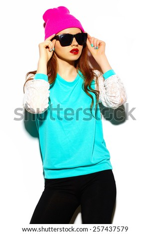 High fashion look.glamor stylish sexy beautiful young brunette woman model in summer bright blue hipster cloth in beanie - stock photo