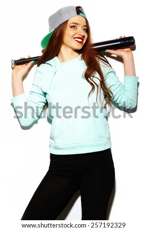 High fashion look.glamor stylish sexy beautiful young brunette woman model in summer bright hipster cloth with baseball bat - stock photo