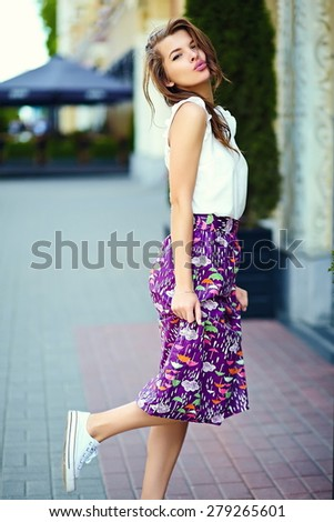 High fashion look.glamor stylish sexy smiling beautiful sensual young woman model in summer bright hipster cloth in the street - stock photo