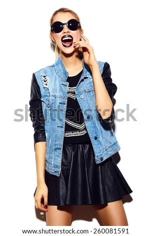 High fashion look.glamor stylish sexy smiling beautiful young blond woman model in summer bright jeans hipster cloth  in sunglasses - stock photo