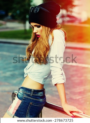 High fashion look.glamor stylish sexy smiling beautiful young woman model in summer bright hipster cloth in the street - stock photo