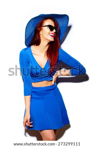 High fashion look.glamor stylish sexy smiling funny beautiful young woman model in summer bright blue casual hipster cloth in sun hat - stock photo