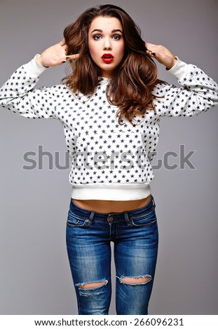 High fashion look.glamor stylish sexy surprised beautiful young woman model in summer bright jeans  hipster cloth  - stock photo
