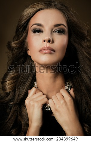High fashion look.glamour fashion portrait of beautiful sexy brunette - stock photo
