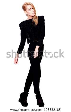 High fashion look.glamour portrait of sexy stylish beautiful blond caucasian young female woman model with bright makeup with accessory in black  modern cloth isolated on white - stock photo