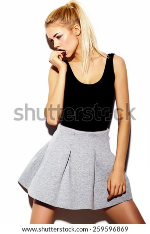 High fashion look stylish sexy smiling beautiful young blond woman model in summer bright hipster cloth  - stock photo