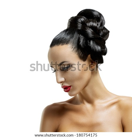 High Fashion Model Girl Portrait with Trendy Fringe Hair style and Makeup. Long Black Fringe Hairstyle, Black Hair and Red Matte Lipstick.  - stock photo