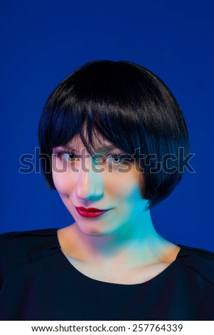 High Fashion Model Girl Portrait with Trendy Hair style - stock photo