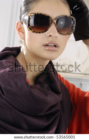 High fashion model in sunglasses - stock photo