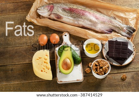 High Fat Foods That Are Healthy. Top view - stock photo