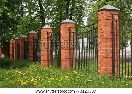 Brick Fence Stock Images Royalty Free Images Amp Vectors Shutterstock