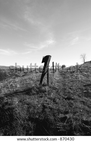 High Fenceline in Black and White - stock photo