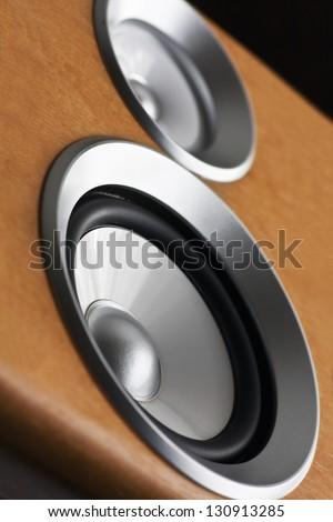 High fidelity audio stereo system sound speaker - stock photo