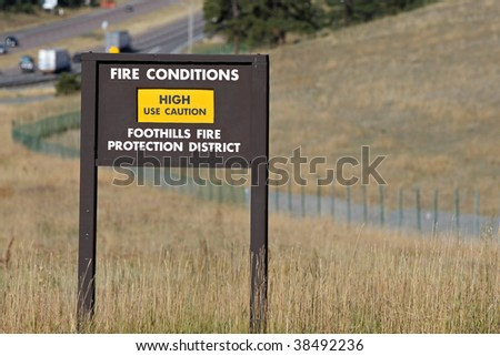 high fire warning caution sign - stock photo