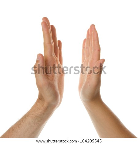High five, mans hand and a womans hand - stock photo