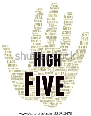 High five word cloud shape concept - stock photo