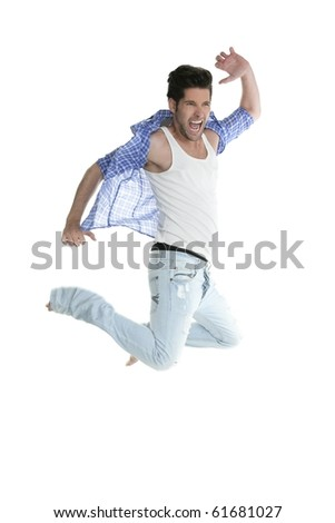High fly happy young man jumping denim fashion jeans isolated on white - stock photo