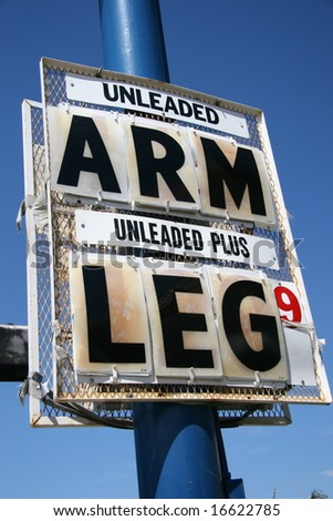 High Gas Price, Arm and Leg - stock photo