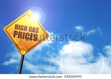 high gas prices, 3D rendering, glowing yellow traffic sign  - stock photo
