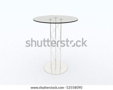 High Glass Top Table On White Background