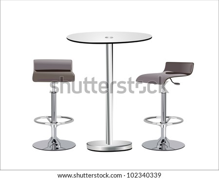 high glass top table w chairs on white background