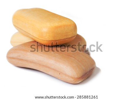 high-grade natural aroma soap at wite background - stock photo