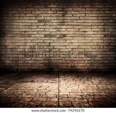 high grunge brick room - stock photo