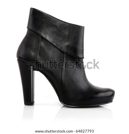 High heel leather shoe isolated on white