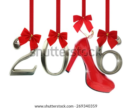 High heel shoe and 2016 number hanging  - stock photo