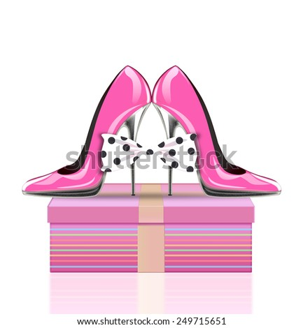 high heel shoes with bow and present, symbol mothers day, woman's day, valentines day - stock photo