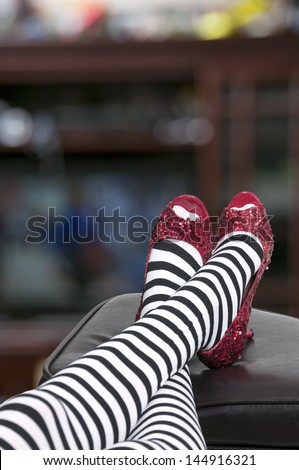 High heel stiletto ruby shoes or slippers - stock photo