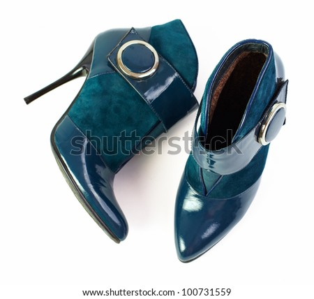 high heel woman ankle shoes isolated on white