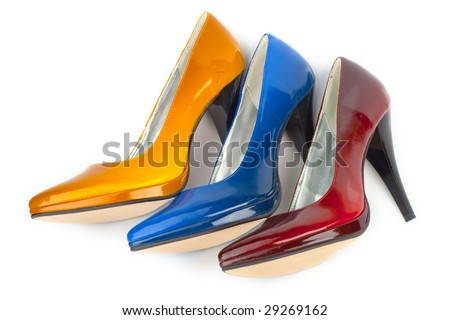 High heel woman shoe. Isolated on a white background. - stock photo