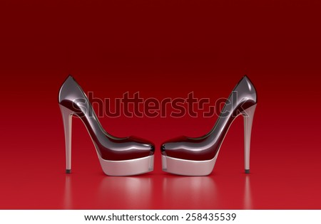 high heeled shoes on red background (3d render) - stock photo