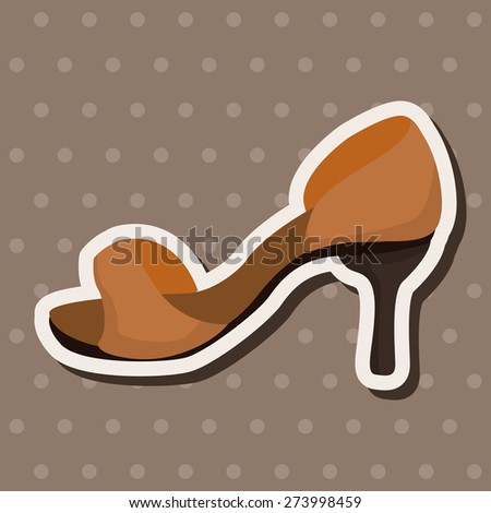 High-heeled shoes style , cartoon sticker icon