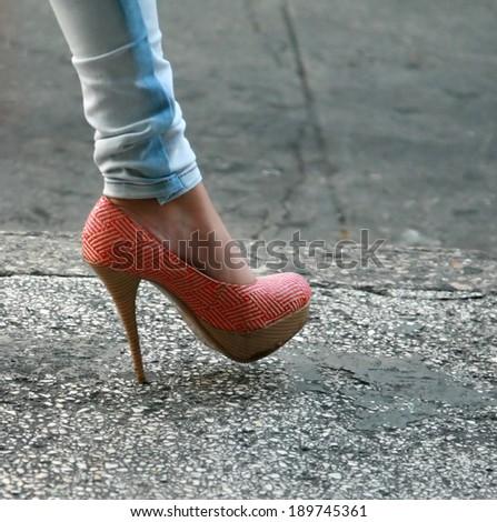 High heeled step  - stock photo
