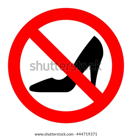 High heels with prohibitory sign over white background - stock photo