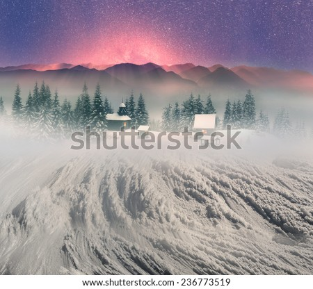High in the wild mountains located monastery- church shepherds of sheep Carpathian Mountains. Natural reserves is very beautiful, but accessible only to experienced hikers climbers during cold weather - stock photo